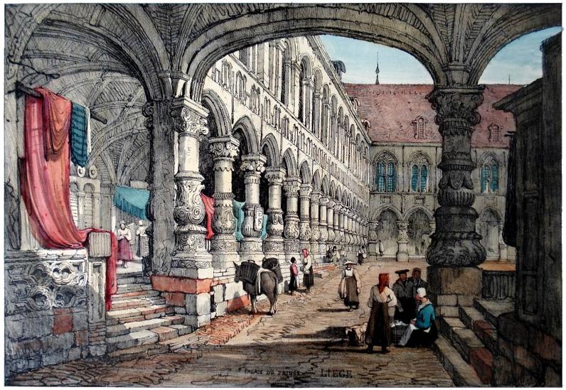 Palais des Princes Evêques de Liège – Iconographie – Prout 1833